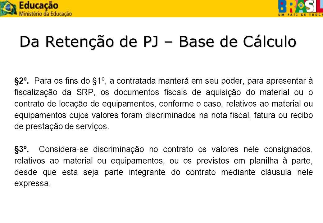 Da Retenção de PJ – Base de Cálculo §2º. Para os fins do §1º, a contratada manterá em seu poder, para apresentar à fiscalização da SRP, os documentos