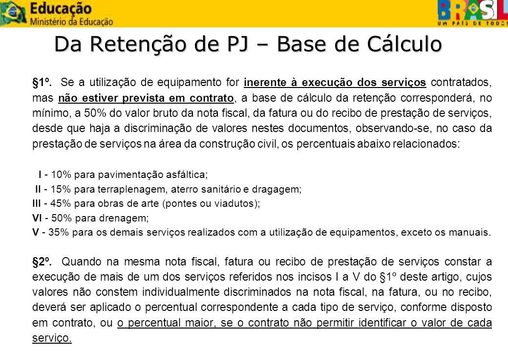 Da Retenção de PJ – Base de Cálculo §1º. Se a utilização de equipamento for inerente à execução dos serviços contratados, mas não estiver prevista em