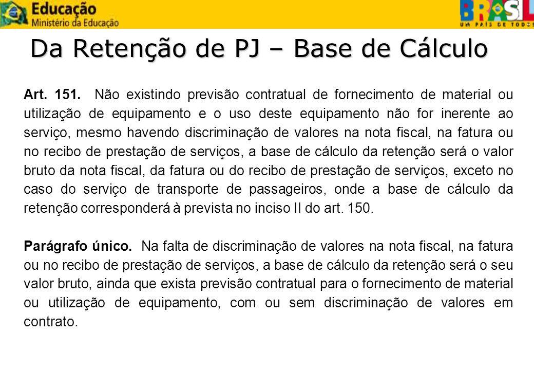 Da Retenção de PJ – Base de Cálculo Art. 151. Não existindo previsão contratual de fornecimento de material ou utilização de equipamento e o uso deste