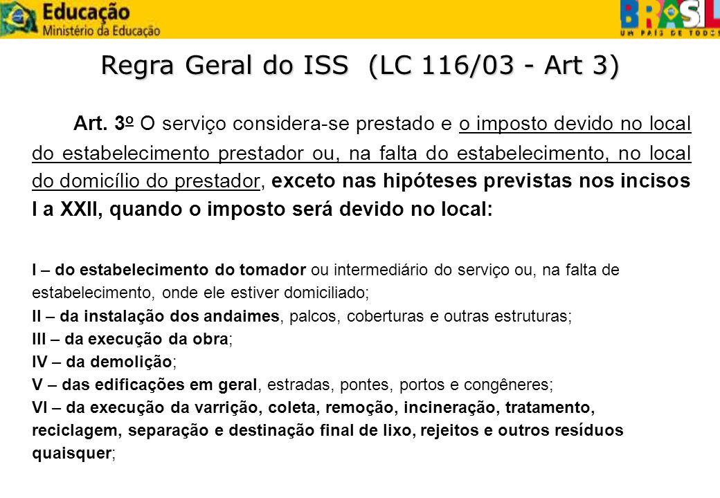 Art. 3 o O serviço considera-se prestado e o imposto devido no local do estabelecimento prestador ou, na falta do estabelecimento, no local do domicíl