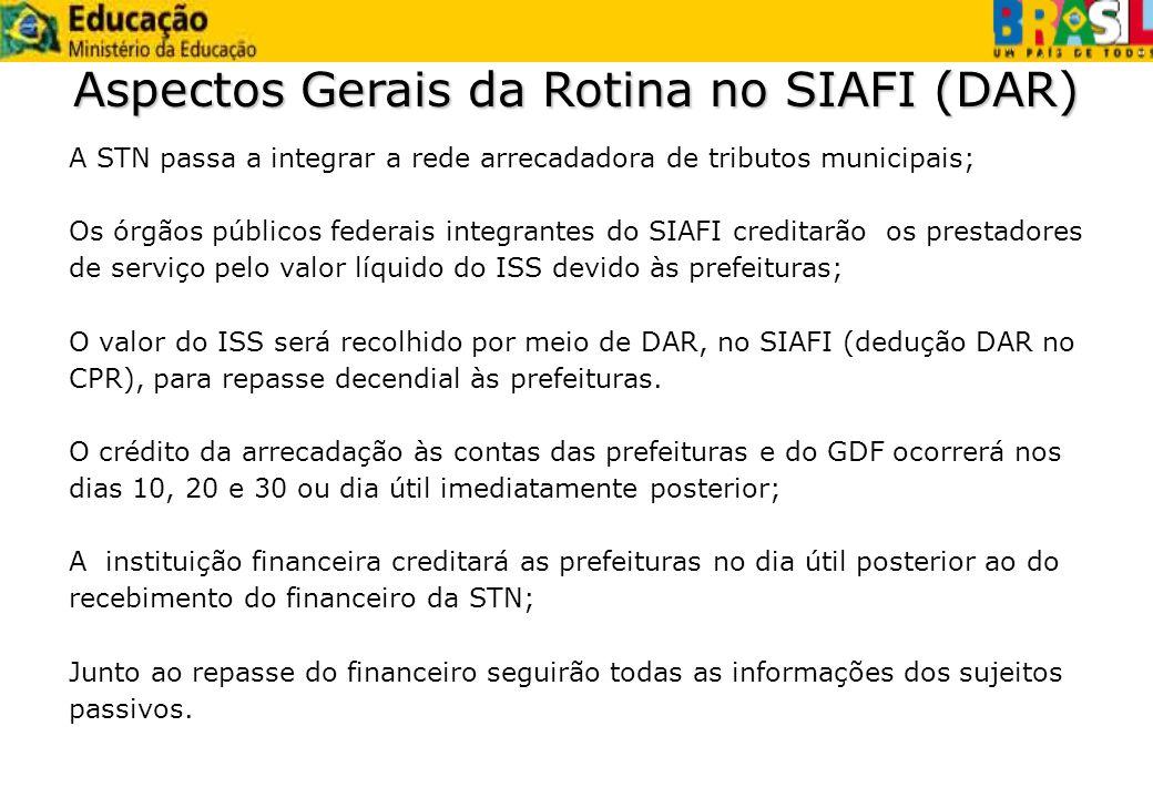 A STN passa a integrar a rede arrecadadora de tributos municipais; Os órgãos públicos federais integrantes do SIAFI creditarão os prestadores de servi