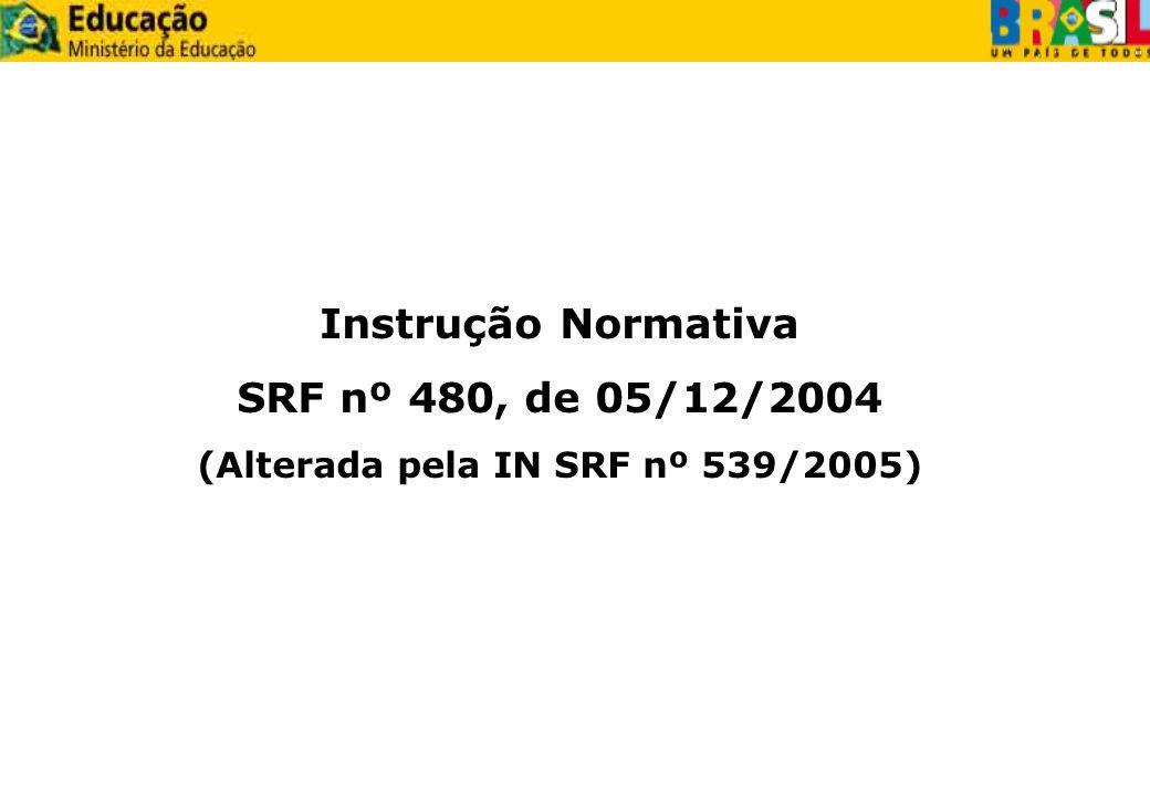Instrução Normativa SRF nº 480, de 05/12/2004 (Alterada pela IN SRF nº 539/2005)
