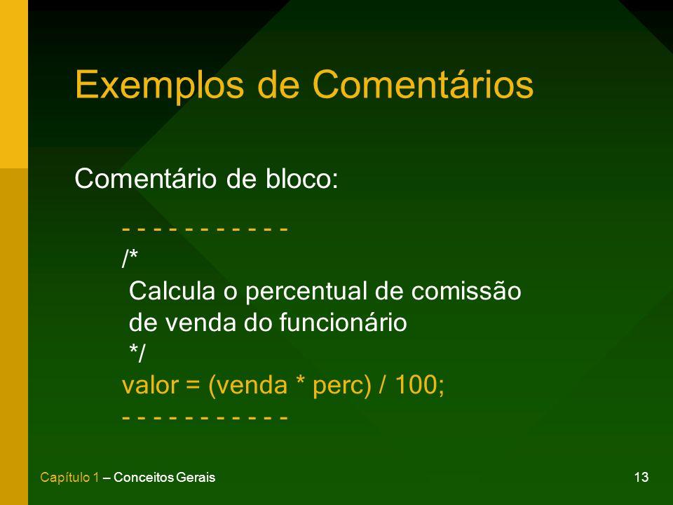 13Capítulo 1 – Conceitos Gerais Exemplos de Comentários Comentário de bloco: - - - - - - - - - - - /* Calcula o percentual de comissão de venda do funcionário */ valor = (venda * perc) / 100; - - - - - - - - - - -