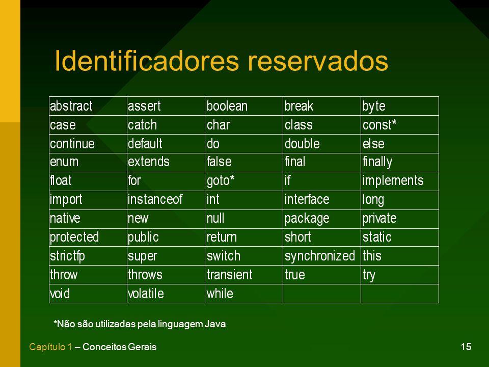 15Capítulo 1 – Conceitos Gerais Identificadores reservados *Não são utilizadas pela linguagem Java