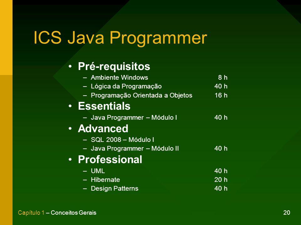 20Capítulo 1 – Conceitos Gerais ICS Java Programmer Pré-requisitos –Ambiente Windows 8 h –Lógica da Programação40 h –Programação Orientada a Objetos16 h Essentials –Java Programmer – Módulo I40 h Advanced –SQL 2008 – Módulo I –Java Programmer – Módulo II40 h Professional –UML40 h –Hibernate20 h –Design Patterns40 h
