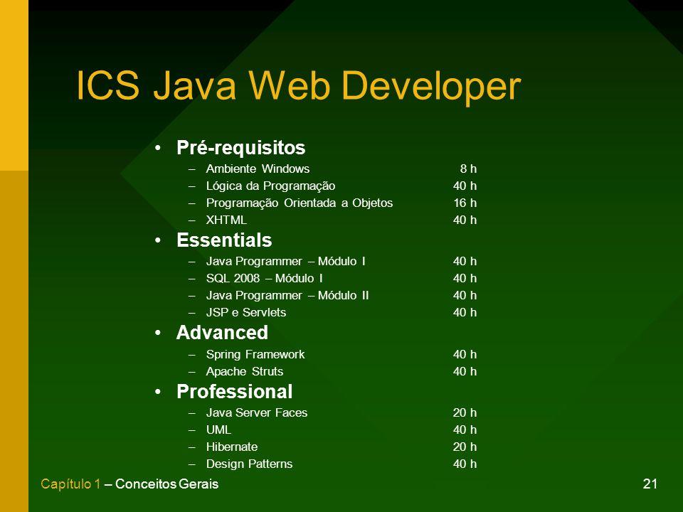 21Capítulo 1 – Conceitos Gerais ICS Java Web Developer Pré-requisitos –Ambiente Windows 8 h –Lógica da Programação40 h –Programação Orientada a Objetos16 h –XHTML40 h Essentials –Java Programmer – Módulo I40 h –SQL 2008 – Módulo I40 h –Java Programmer – Módulo II40 h –JSP e Servlets40 h Advanced –Spring Framework40 h –Apache Struts40 h Professional –Java Server Faces20 h –UML40 h –Hibernate20 h –Design Patterns40 h