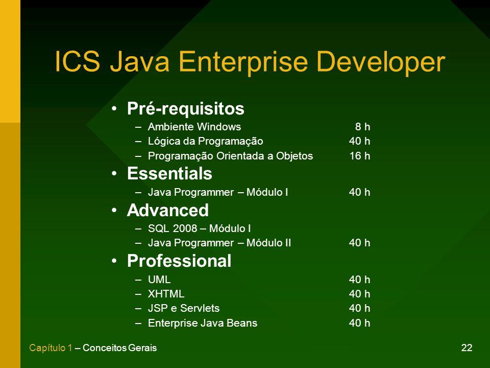 22Capítulo 1 – Conceitos Gerais ICS Java Enterprise Developer Pré-requisitos –Ambiente Windows 8 h –Lógica da Programação40 h –Programação Orientada a Objetos16 h Essentials –Java Programmer – Módulo I40 h Advanced –SQL 2008 – Módulo I –Java Programmer – Módulo II40 h Professional –UML40 h –XHTML40 h –JSP e Servlets40 h –Enterprise Java Beans40 h