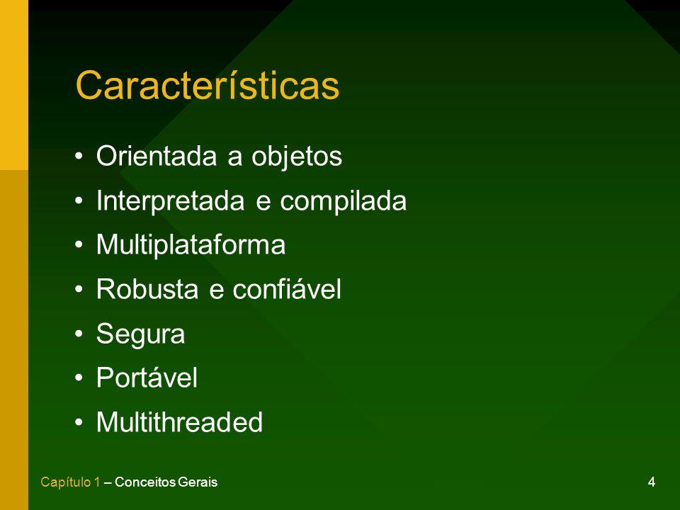4Capítulo 1 – Conceitos Gerais Características Orientada a objetos Interpretada e compilada Multiplataforma Robusta e confiável Segura Portável Multithreaded