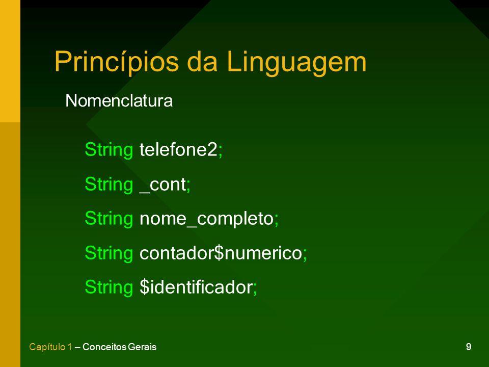 9Capítulo 1 – Conceitos Gerais Princípios da Linguagem String telefone2; String _cont; String nome_completo; String contador$numerico; String $identificador; Nomenclatura