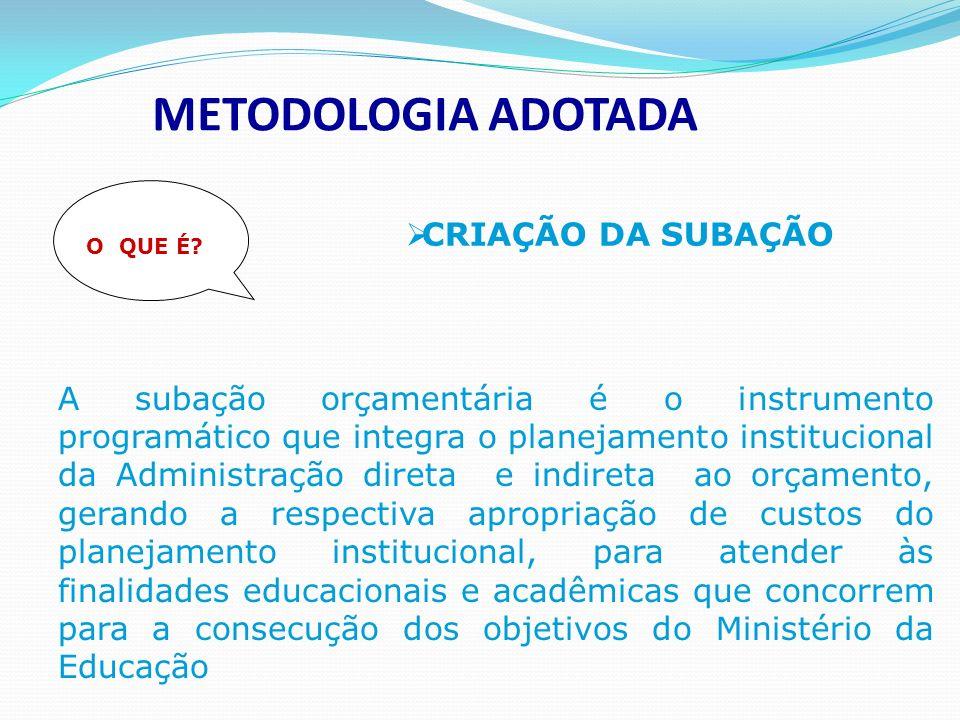 METODOLOGIA ADOTADA CRIAÇÃO DA SUBAÇÃO O QUE É.