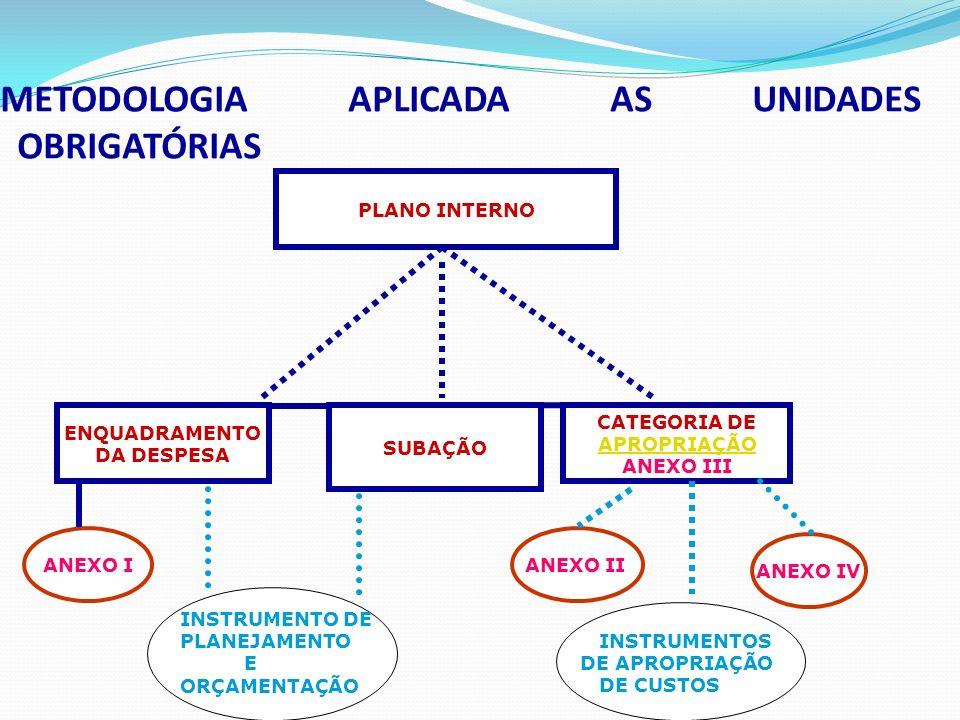 METODOLOGIA APLICADA AS UNIDADES OBRIGATÓRIAS PLANO INTERNO SUBAÇÃO CATEGORIA DE APROPRIAÇÃO ANEXO III INSTRUMENTO DE PLANEJAMENTO E ORÇAMENTAÇÃO ANEXO I ANEXO IV ENQUADRAMENTO DA DESPESA ANEXO II INSTRUMENTOS DE APROPRIAÇÃO DE CUSTOS