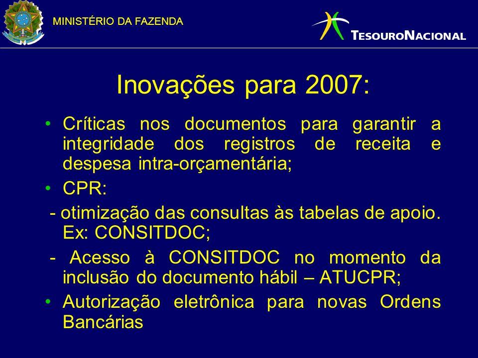 MINISTÉRIO DA FAZENDA Inovações para 2007: Críticas nos documentos para garantir a integridade dos registros de receita e despesa intra-orçamentária; CPR: - otimização das consultas às tabelas de apoio.