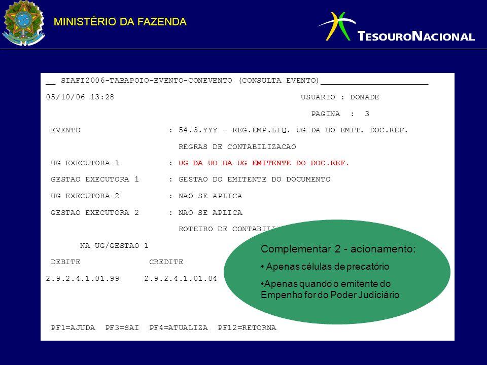 MINISTÉRIO DA FAZENDA __ SIAFI2006-TABAPOIO-EVENTO-CONEVENTO (CONSULTA EVENTO)______________________ 05/10/06 13:28 USUARIO : DONADE PAGINA : 3 EVENTO : 54.3.XXX - REG.