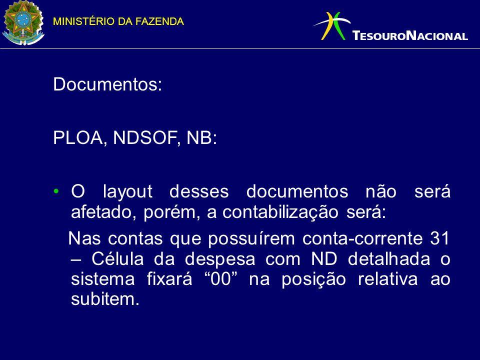 MINISTÉRIO DA FAZENDA Principais alterações no SIAFI 2007: Alterações no layout de documentos incluindo coluna subitem; Criação de contas de controle por NE + SUBITEM; Alteração de todos os eventos 51.X.XXX;