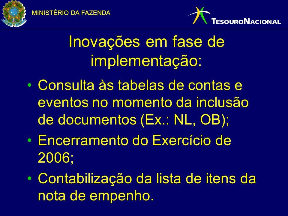 MINISTÉRIO DA FAZENDA Inovações em fase de implementação: Consulta às tabelas de contas e eventos no momento da inclusão de documentos (Ex.: NL, OB); Encerramento do Exercício de 2006; Contabilização da lista de itens da nota de empenho.