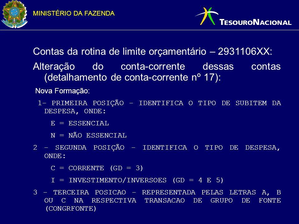 MINISTÉRIO DA FAZENDA Contas da rotina de limite orçamentário – 2931106XX: Existentes: 293110601 – a utilizar (a empenhar/ a descentralizar) 293110602 – utilizada (empenho pela UO) 293110603 – transferida (transferência de limite entre UO) 293110604 – p/ inscrição em RP 293110605 – transferido para inscrição em RP Novas: 293110606 – Descentralizada 293110607 – Transferida utilizada por descentralização interna 293110608 – Transferida utilizada por descentralização externa