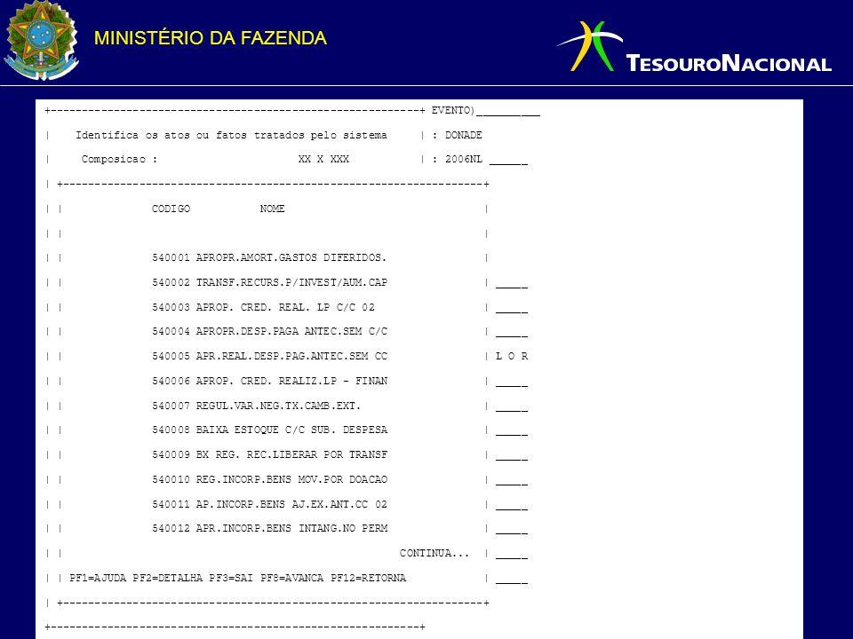 MINISTÉRIO DA FAZENDA +----------------------------------------------------------+ EVENTO)__________ | Identifica os atos ou fatos tratados pelo sistema | : DONADE | Composicao : XX X XXX | : 2006NL ______ | +------------------------------------------------------------------+ | | CODIGO NOME | | | | | | 540001 APROPR.AMORT.GASTOS DIFERIDOS.