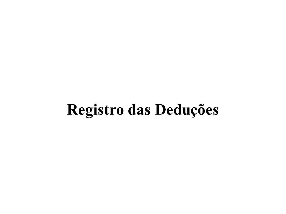 Registro das Deduções