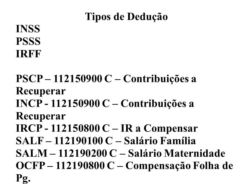 Tipos de Dedução INSS PSSS IRFF PSCP – 112150900 C – Contribuições a Recuperar INCP - 112150900 C – Contribuições a Recuperar IRCP - 112150800 C – IR