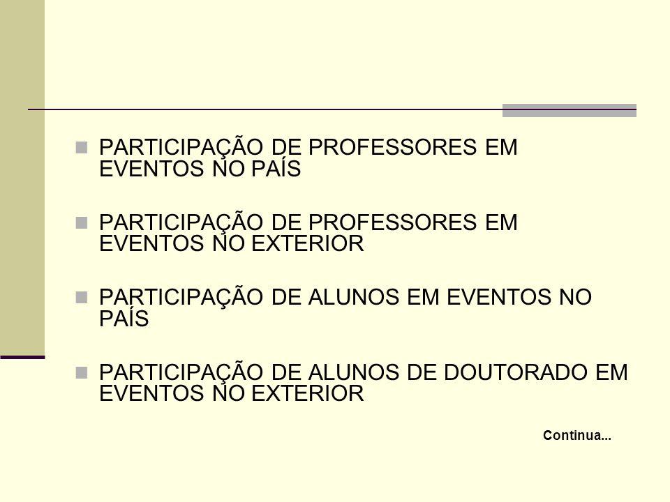 PARTICIPAÇÃO DE PROFESSORES EM EVENTOS NO PAÍS PARTICIPAÇÃO DE PROFESSORES EM EVENTOS NO EXTERIOR PARTICIPAÇÃO DE ALUNOS EM EVENTOS NO PAÍS PARTICIPAÇ