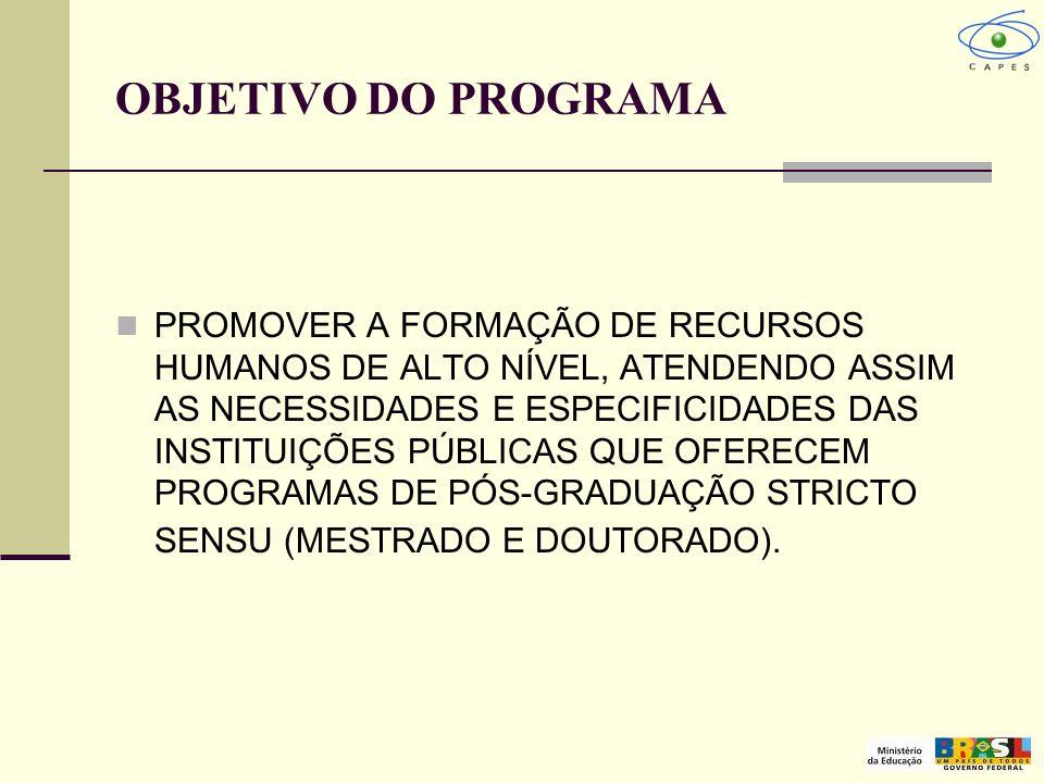 OBJETIVO DO PROGRAMA PROMOVER A FORMAÇÃO DE RECURSOS HUMANOS DE ALTO NÍVEL, ATENDENDO ASSIM AS NECESSIDADES E ESPECIFICIDADES DAS INSTITUIÇÕES PÚBLICA