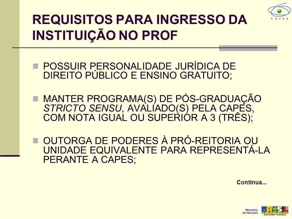 REQUISITOS PARA INGRESSO DA INSTITUIÇÃO NO PROF POSSUIR PERSONALIDADE JURÍDICA DE DIREITO PÚBLICO E ENSINO GRATUITO; MANTER PROGRAMA(S) DE PÓS-GRADUAÇ