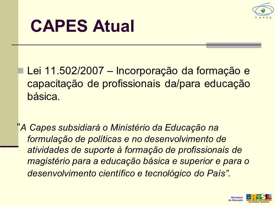 CAPES Atual Lei 11.502/2007 – Incorporação da formação e capacitação de profissionais da/para educação básica. A Capes subsidiará o Ministério da Educ