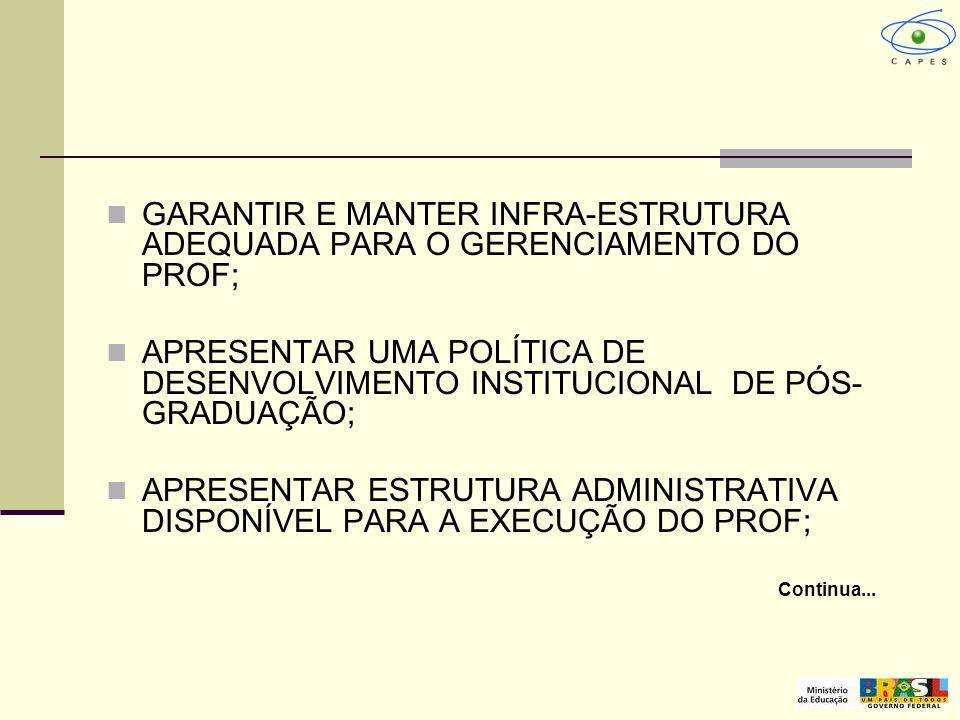 GARANTIR E MANTER INFRA-ESTRUTURA ADEQUADA PARA O GERENCIAMENTO DO PROF; APRESENTAR UMA POLÍTICA DE DESENVOLVIMENTO INSTITUCIONAL DE PÓS- GRADUAÇÃO; A