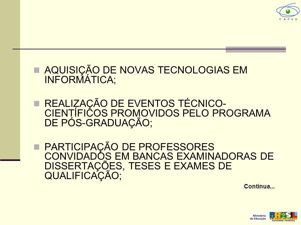 AQUISIÇÃO DE NOVAS TECNOLOGIAS EM INFORMÁTICA; REALIZAÇÃO DE EVENTOS TÉCNICO- CIENTÍFICOS PROMOVIDOS PELO PROGRAMA DE PÓS-GRADUAÇÃO; PARTICIPAÇÃO DE P
