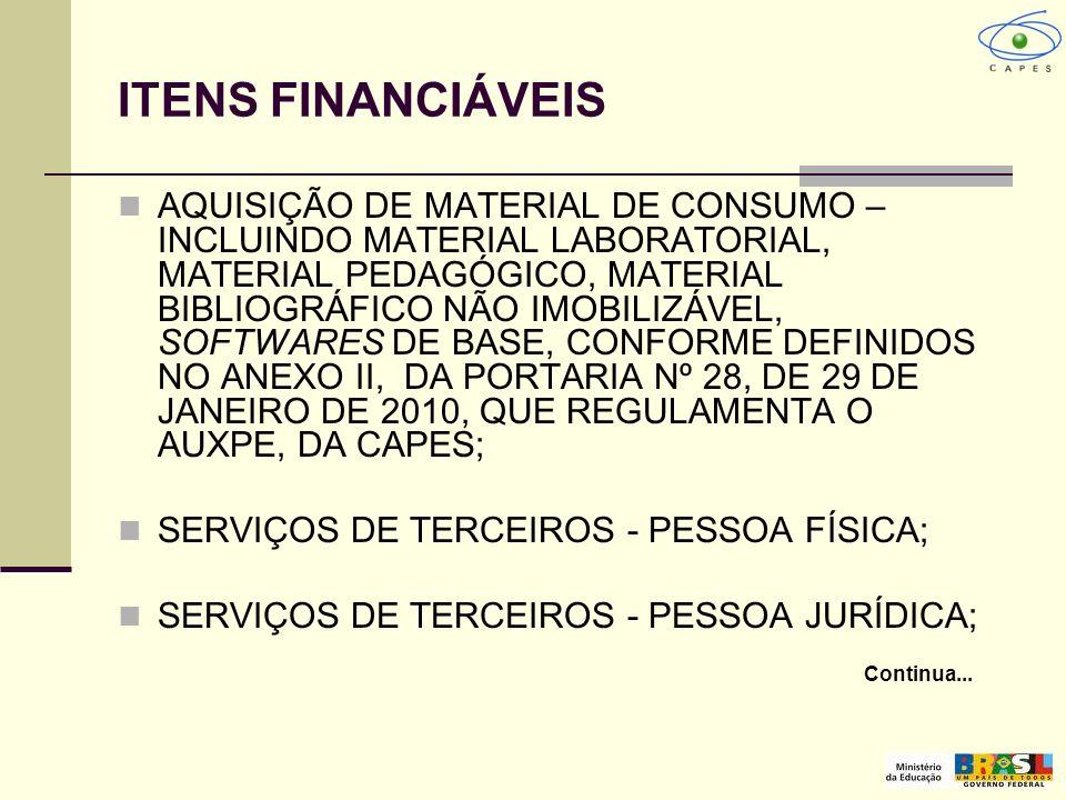 ITENS FINANCIÁVEIS AQUISIÇÃO DE MATERIAL DE CONSUMO – INCLUINDO MATERIAL LABORATORIAL, MATERIAL PEDAGÓGICO, MATERIAL BIBLIOGRÁFICO NÃO IMOBILIZÁVEL, S