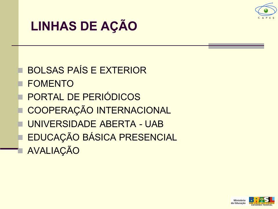 LINHAS DE AÇÃO BOLSAS PAÍS E EXTERIOR FOMENTO PORTAL DE PERIÓDICOS COOPERAÇÃO INTERNACIONAL UNIVERSIDADE ABERTA - UAB EDUCAÇÃO BÁSICA PRESENCIAL AVALI