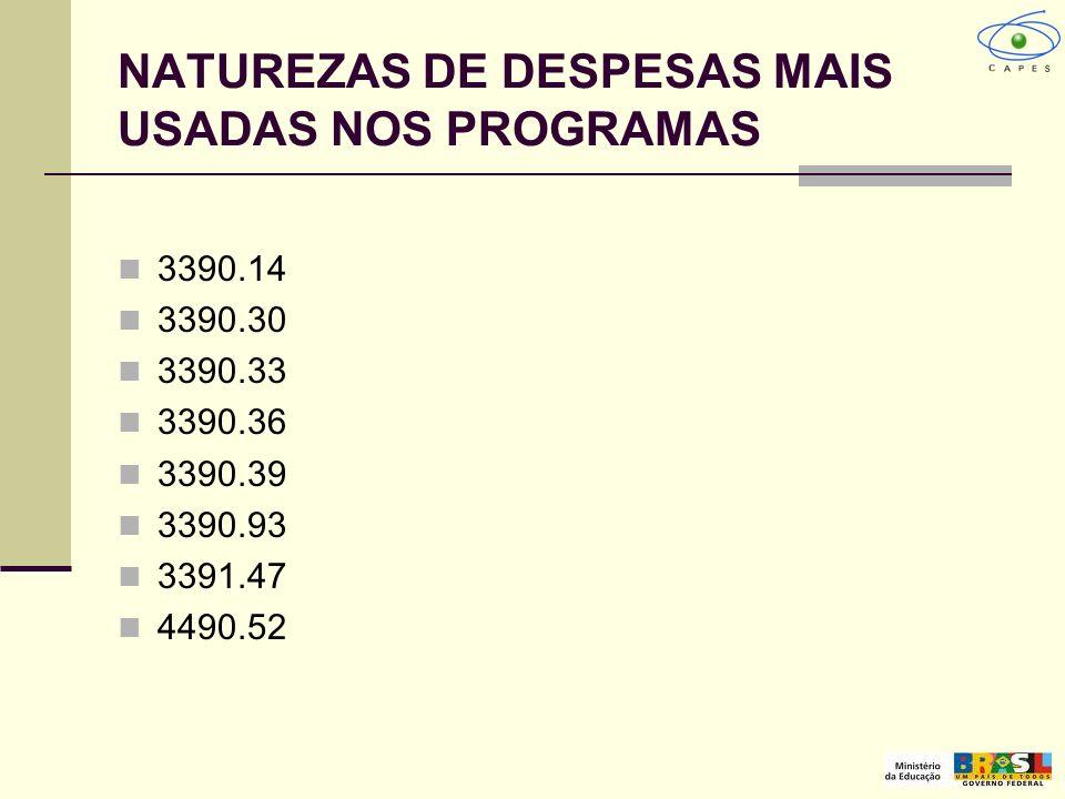 NATUREZAS DE DESPESAS MAIS USADAS NOS PROGRAMAS 3390.14 3390.30 3390.33 3390.36 3390.39 3390.93 3391.47 4490.52