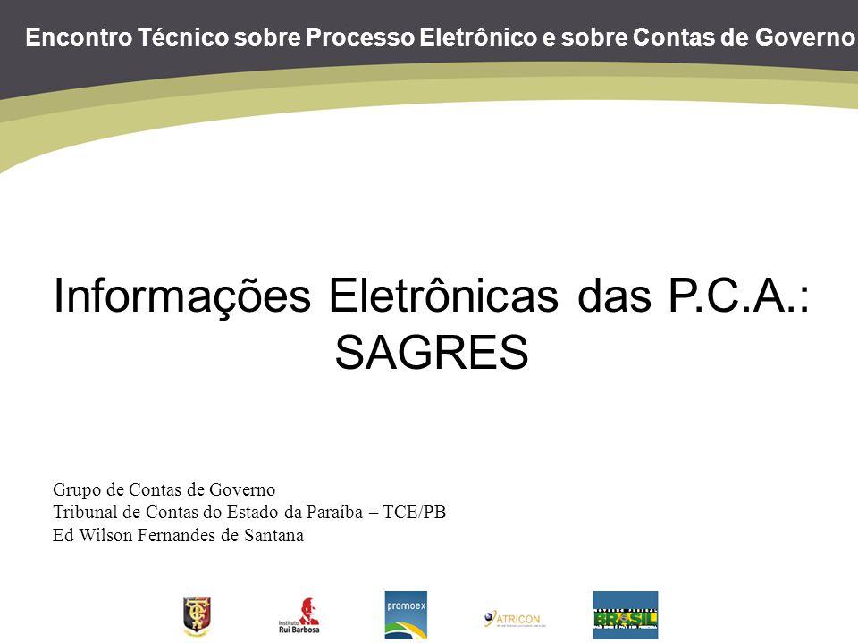 Encontro Técnico sobre Processo Eletrônico e sobre Contas de Governo Informações Eletrônicas das P.C.A.: SAGRES Grupo de Contas de Governo Tribunal de