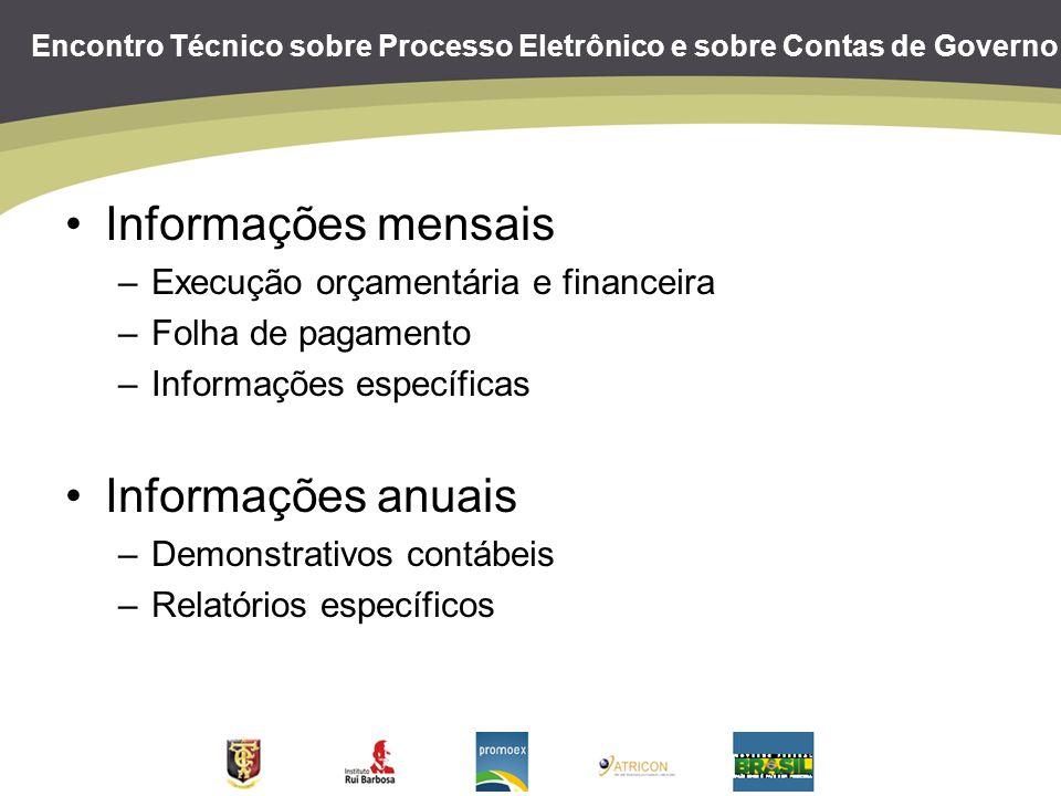 Encontro Técnico sobre Processo Eletrônico e sobre Contas de Governo Informações mensais –Execução orçamentária e financeira –Folha de pagamento –Info