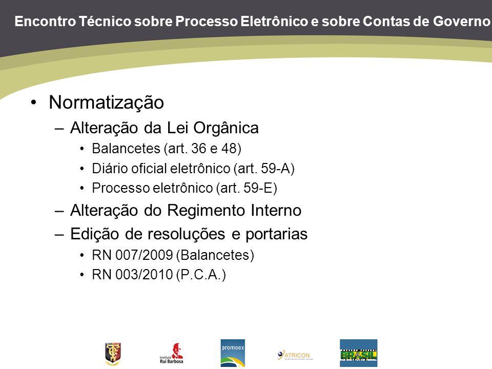 Encontro Técnico sobre Processo Eletrônico e sobre Contas de Governo Normatização –Alteração da Lei Orgânica Balancetes (art. 36 e 48) Diário oficial