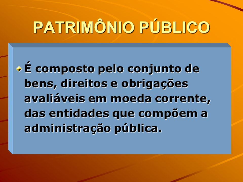 PATRIMÔNIO PÚBLICO É composto pelo conjunto de bens, direitos e obrigações avaliáveis em moeda corrente, das entidades que compõem a administração púb