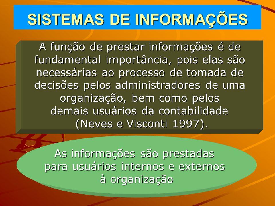 SISTEMAS DE INFORMAÇÕES A função de prestar informações é de fundamental importância, pois elas são necessárias ao processo de tomada de decisões pelo