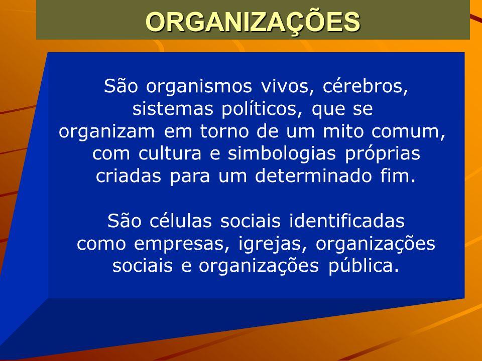 ORGANIZAÇÕES São organismos vivos, cérebros, sistemas políticos, que se organizam em torno de um mito comum, com cultura e simbologias próprias criada