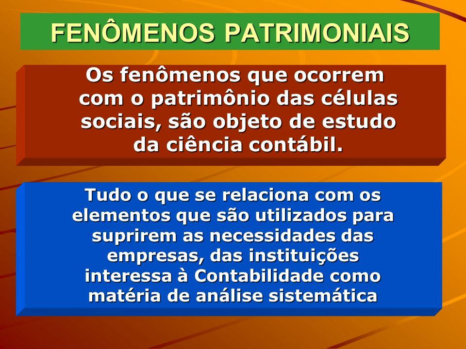 PATRIMÔNIO Para a Contabilidade, Patrimônio é um conjunto impessoal de meios e recursos impessoal de meios e recursos materiais e imateriais, existente em determinado momento, visando à satisfação das necessidades da atividade de uma célula social.