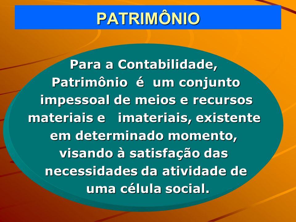 PATRIMÔNIO Para a Contabilidade, Patrimônio é um conjunto impessoal de meios e recursos impessoal de meios e recursos materiais e imateriais, existent