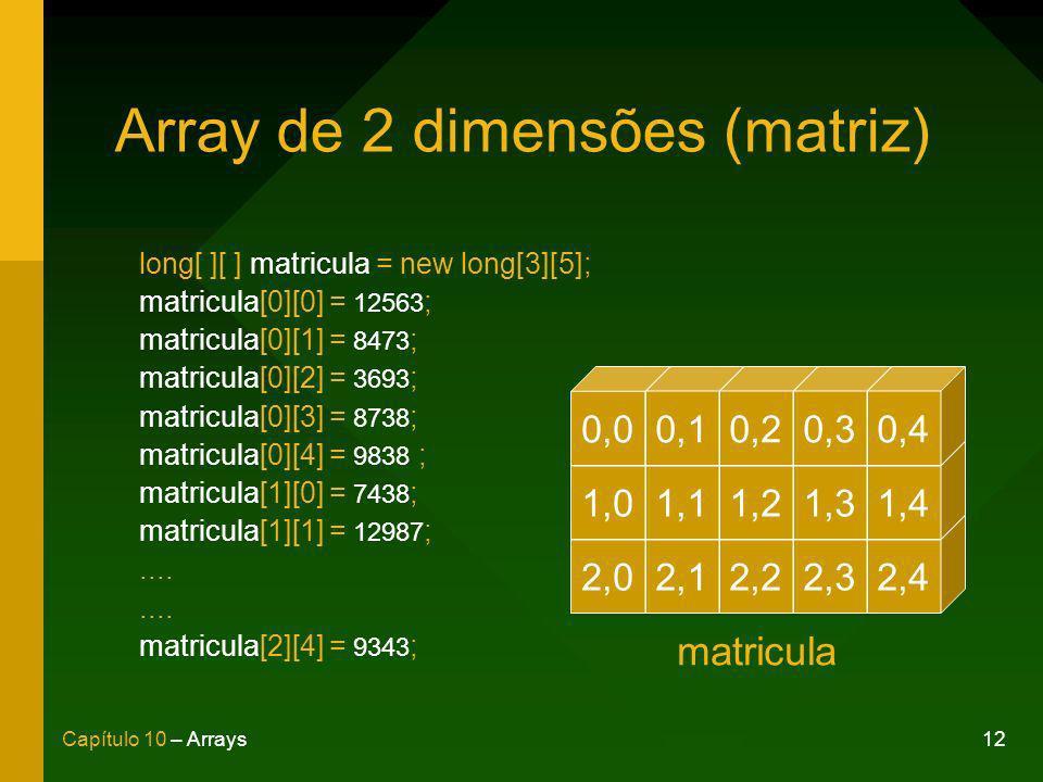 12Capítulo 10 – Arrays Array de 2 dimensões (matriz) long[ ][ ] matricula = new long[3][5]; matricula[0][0] = 12563 ; matricula[0][1] = 8473 ; matricula[0][2] = 3693 ; matricula[0][3] = 8738 ; matricula[0][4] = 9838 ; matricula[1][0] = 7438 ; matricula[1][1] = 12987 ;....