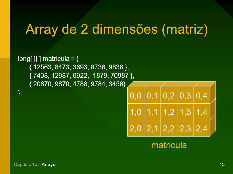 13Capítulo 10 – Arrays Array de 2 dimensões (matriz) long[ ][ ] matricula = { { 12563, 8473, 3693, 8738, 9838 }, { 7438, 12987, 0922, 1879, 70987 }, { 20870, 9870, 4788, 9784, 3456} }; 2,02,12,22,32,4 1,01,11,21,31,4 0,00,10,20,30,4 matricula