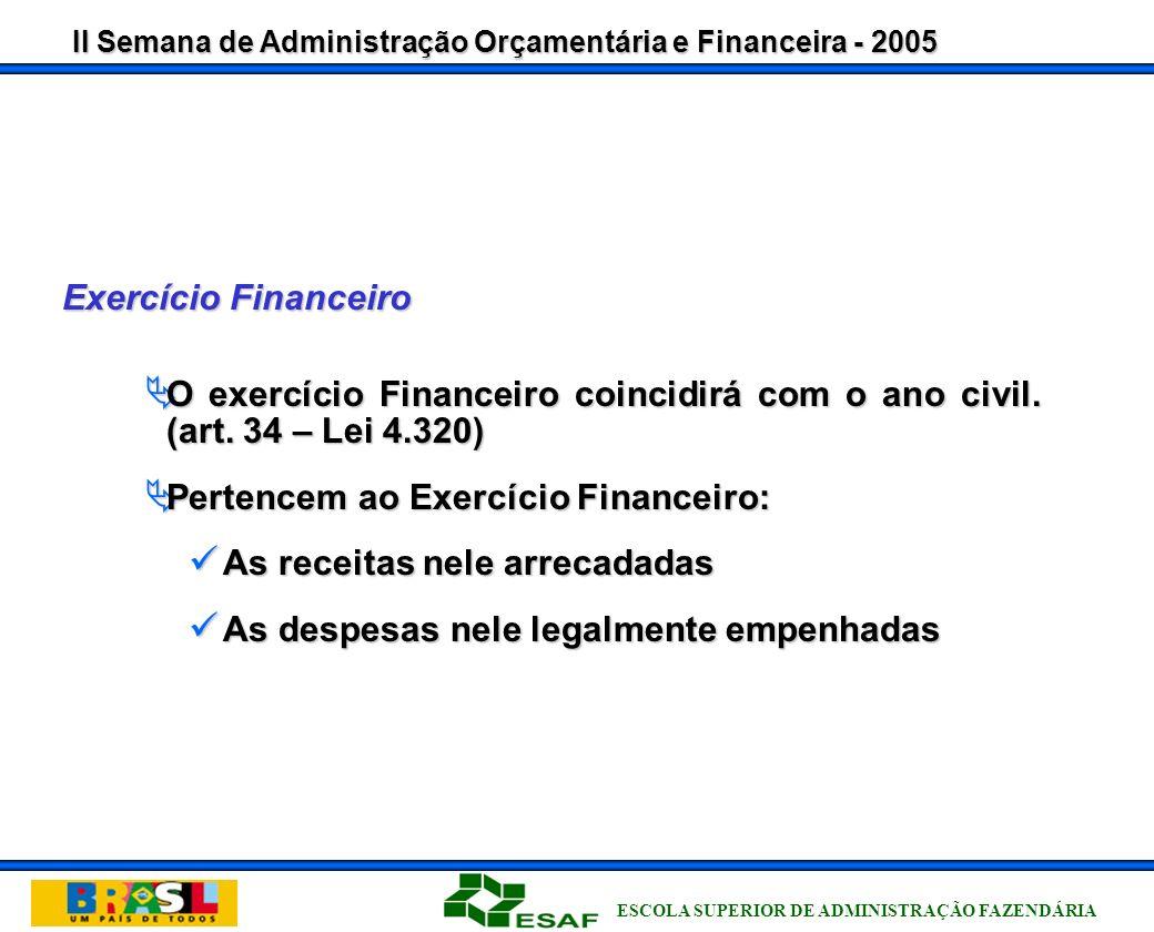 II Semana de Administração Orçamentária e Financeira - 2005 ESCOLA SUPERIOR DE ADMINISTRAÇÃO FAZENDÁRIA