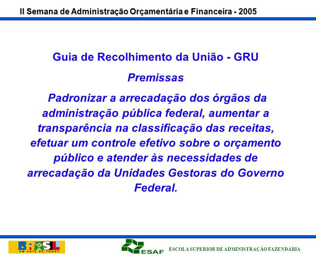 II Semana de Administração Orçamentária e Financeira - 2005 ESCOLA SUPERIOR DE ADMINISTRAÇÃO FAZENDÁRIA Recolhimentos da União Situação Anterior Depósito Direto na Conta Única do Tesouro Nacional, através de serviço específico do Banco do Brasil.