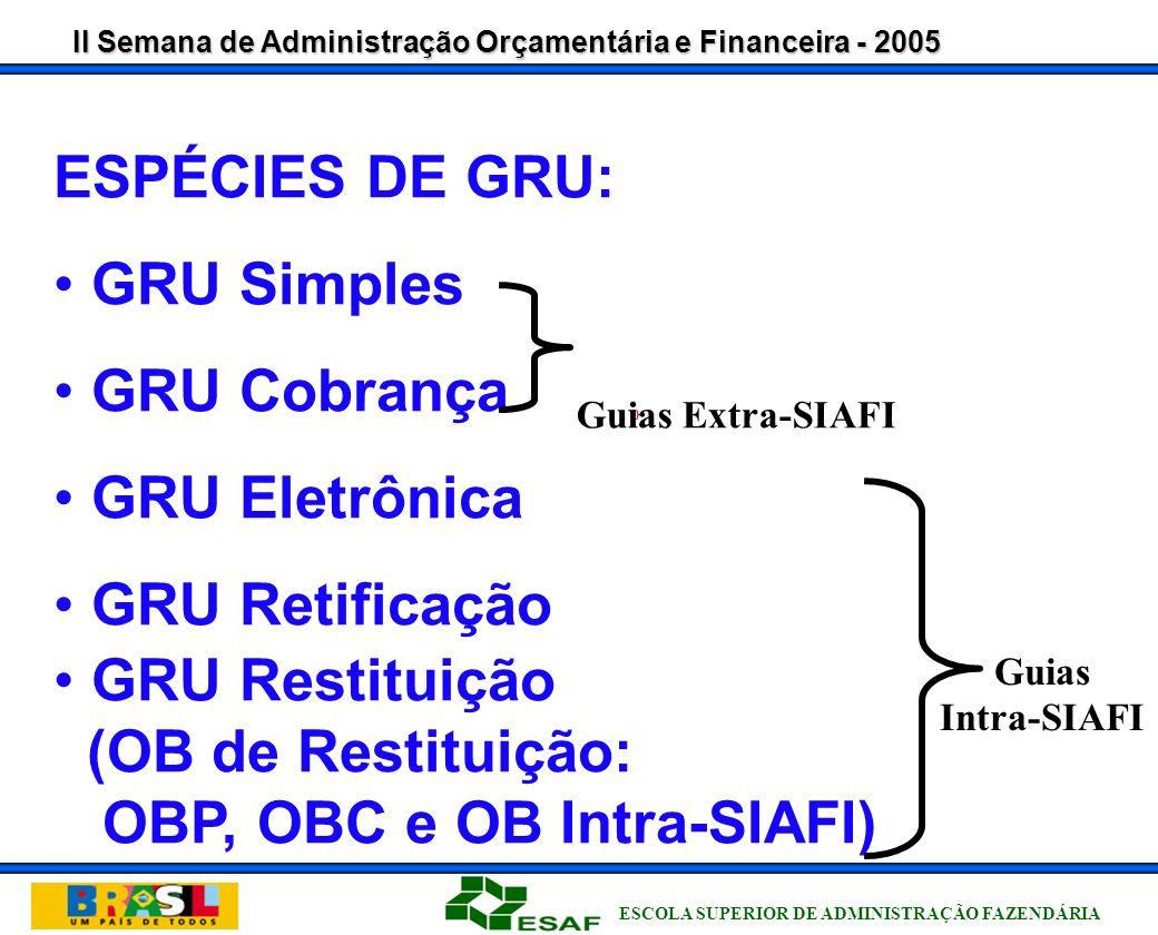 II Semana de Administração Orçamentária e Financeira - 2005 ESCOLA SUPERIOR DE ADMINISTRAÇÃO FAZENDÁRIA GRU - GUIA DE RECOLHIMENTO DA UNIÃO CARACTERÍSTICAS GERAIS Com código de barras; Compensável ou recebimento exclusivo no BB; Através de depósito direto; Formulários impressos via Internet ou pelas UG; Possibilidade de identificação de dados diversos; Classificação por fonte e natureza de receita; Destinação imediata de receitas compartilhadas