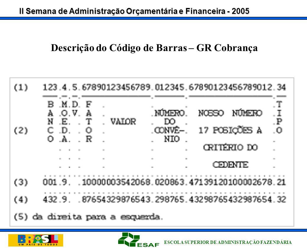 II Semana de Administração Orçamentária e Financeira - 2005 ESCOLA SUPERIOR DE ADMINISTRAÇÃO FAZENDÁRIA PosiçãoTamanhoPictureConteúdo 1-339 (3)Identificação do banco 4-419Código da moeda (9 - real) 5-519Dígito verificador geral do código de barras 6-949Fator de Vencimento 10-19109 (8) V99Valor do Documento 20-44259 (25)CAMPO LIVRE Código de Barras – Cobrança / Padrão FEBRABAN