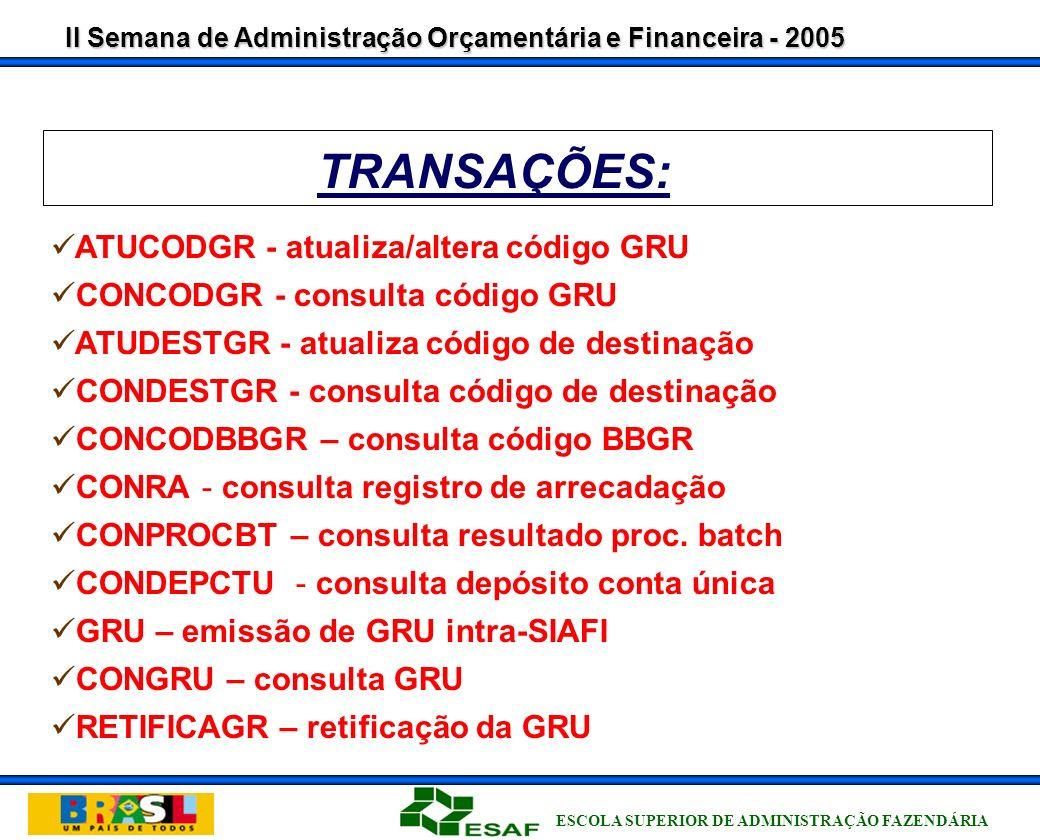 II Semana de Administração Orçamentária e Financeira - 2005 ESCOLA SUPERIOR DE ADMINISTRAÇÃO FAZENDÁRIA APLICATIVO LOCAL