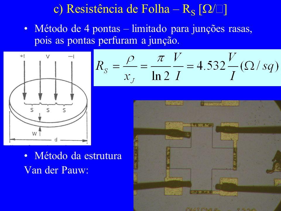 c) Resistência de Folha – R S [ /] Método de 4 pontas – limitado para junções rasas, pois as pontas perfuram a junção. Método da estrutura Van der Pau