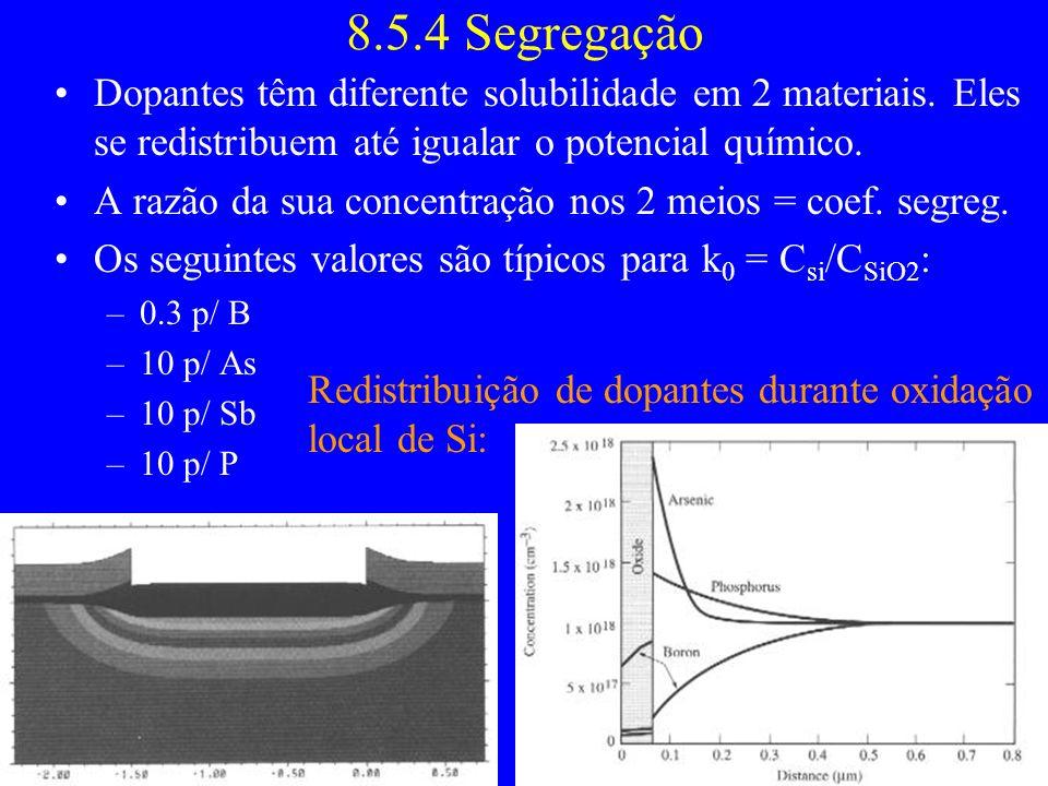 8.5.4 Segregação Dopantes têm diferente solubilidade em 2 materiais. Eles se redistribuem até igualar o potencial químico. A razão da sua concentração