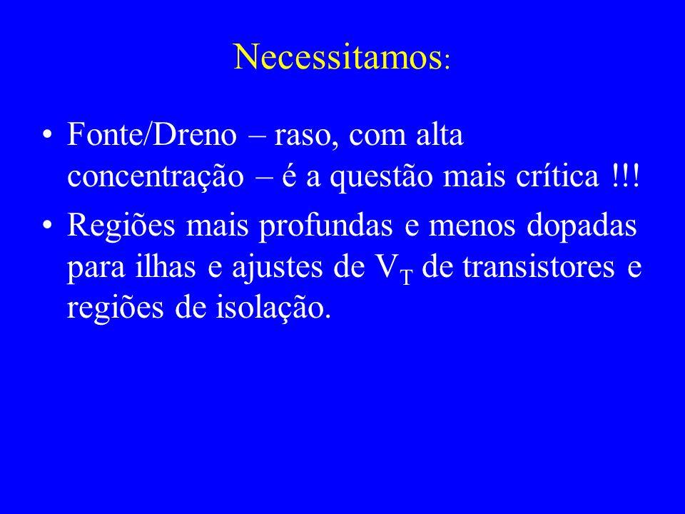 Necessitamos : Fonte/Dreno – raso, com alta concentração – é a questão mais crítica !!.